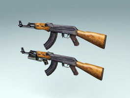 AK-47 with GP-30 3d model