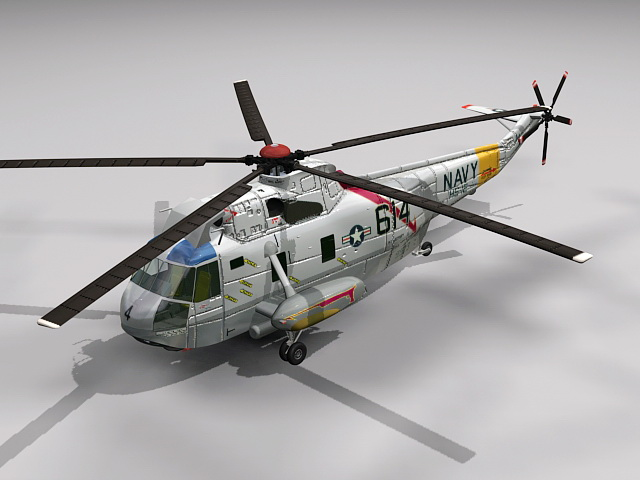 US Navy SH-3 Helicopter 3d model rendered image