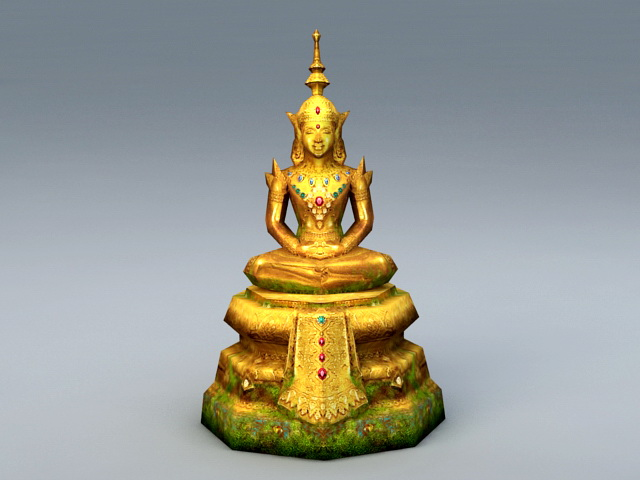 Ancient Thai Buddha Statue 3d model rendered image