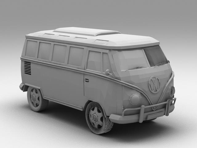 Volkswagen Microbus 3d model rendered image