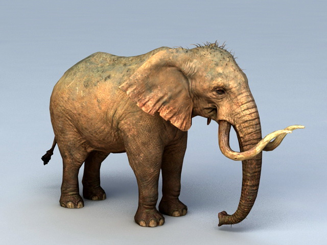 Mammoth Elephant 3d model rendered image