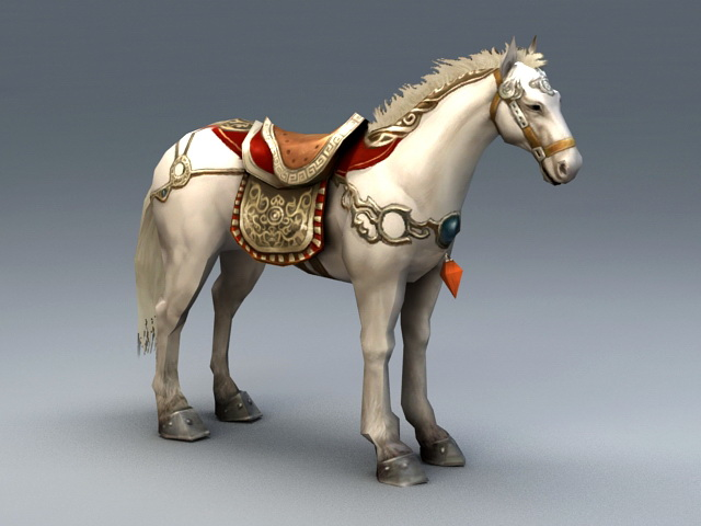 White War Horse 3d model rendered image