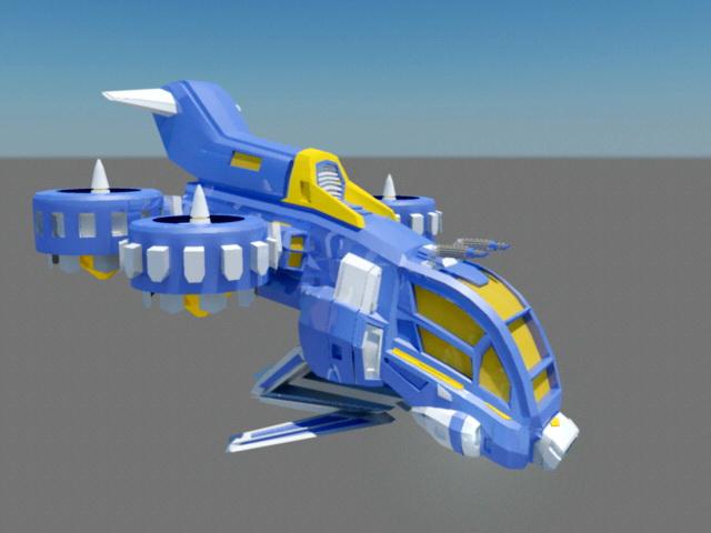 Sci-Fi Gunship Animation 3d model rendered image
