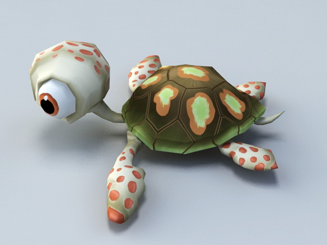 Animated Baby Tortoise Cartoon 3d model rendered image