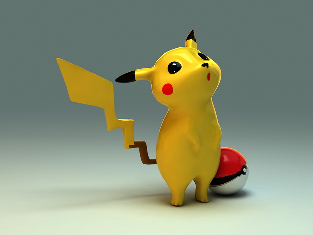 Cute Pikachu 3d model rendered image