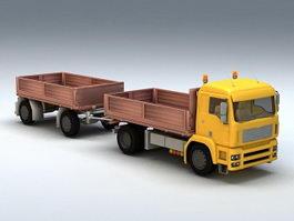 Double Trailer Dump Truck 3d model