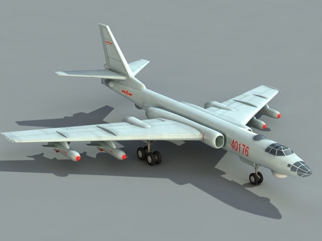 Chinese Xian H-6 Bomber 3d model rendered image