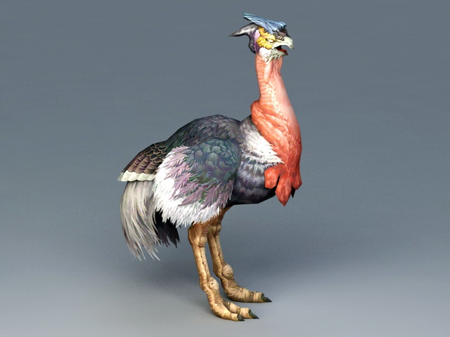 Red Ostrich Bird 3d model rendered image