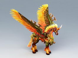 Red Unicorn with Wings 3d model