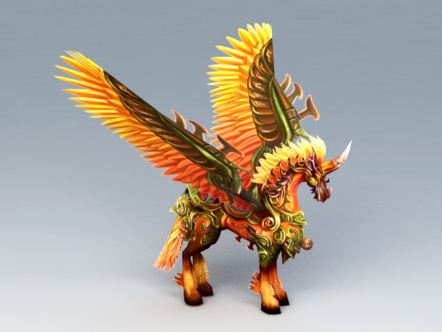 Red Unicorn with Wings 3d model rendered image
