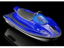 Blue Motorboat 3d model