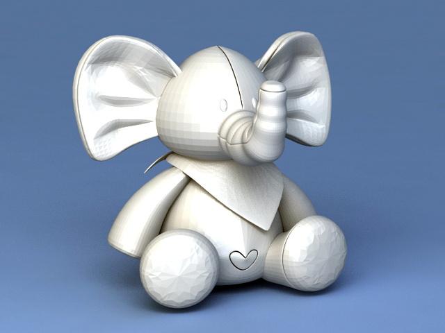 Baby Elephant Cartoon 3d model rendered image
