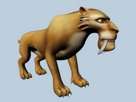 Cartoon Smilodon Rig 3d model