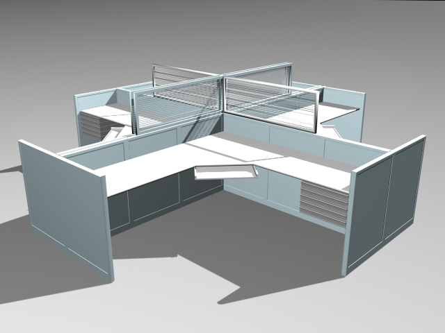 Modern Cubicles and Workstations 3d model