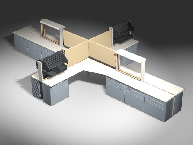 Open Area Cubicles And Workstations 3d Model 3ds Max Files