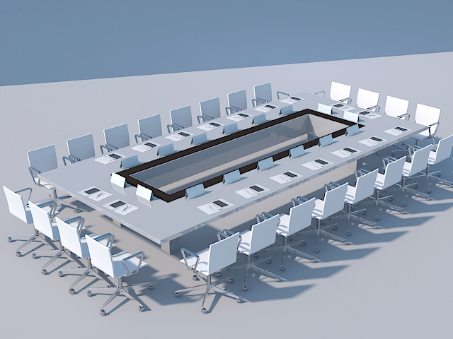 Large Office Conference Table 3d model