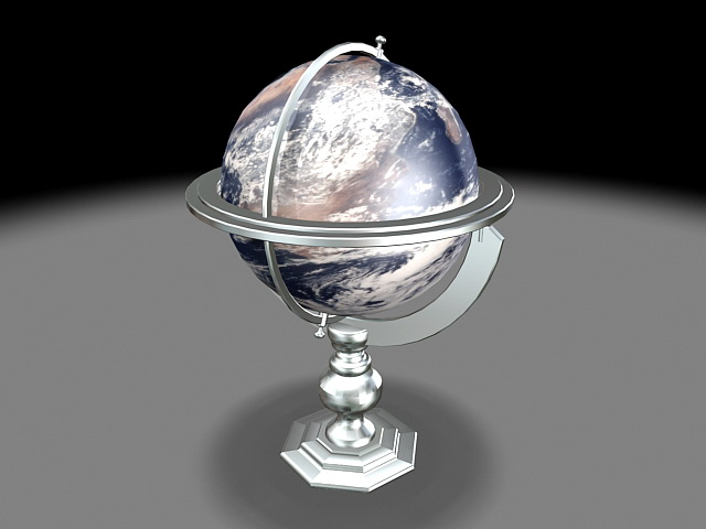 Planet Earth Globe 3d model rendered image