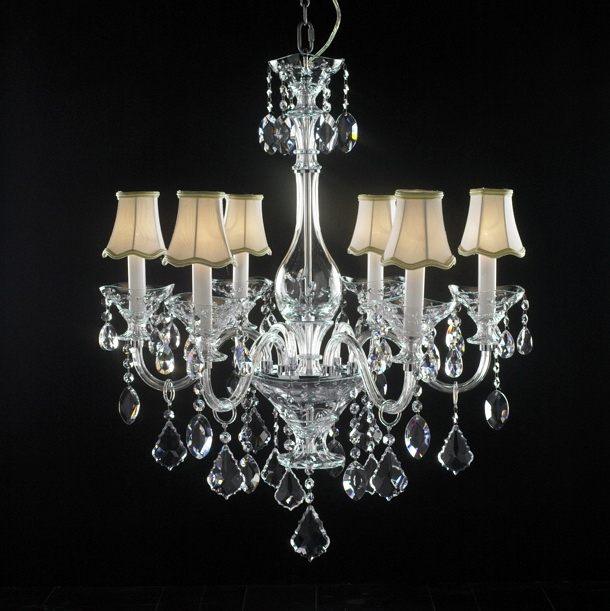 Crystal Chandelier with Shades 3d model rendered image