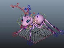 Cute Pink Ant Rig 3d model