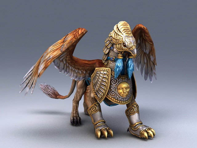 Armored Griffin Creature 3d model rendered image
