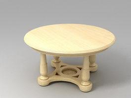 Antique Round Tea Table 3d model