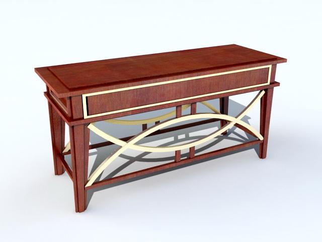 Vintage Wooden Writing Desk 3d model