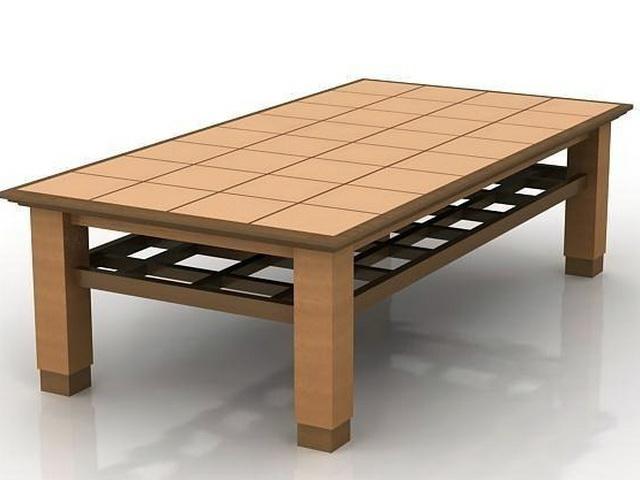 Wood Coffee Table 3d model rendered image