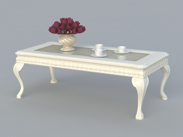French Style Coffee Table D Model Ds Max Files Free Download - White french style coffee table