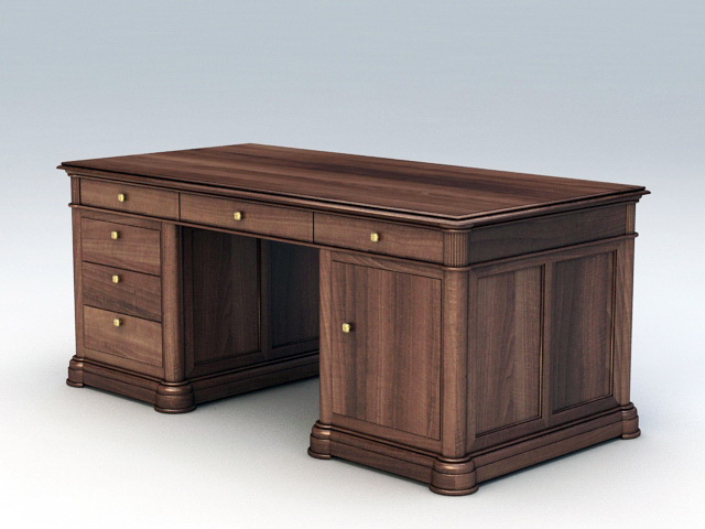 Writing Desk with Drawers 3d rendering
