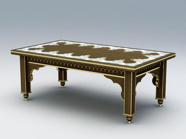 French Antique Coffee Table 3d model rendered image