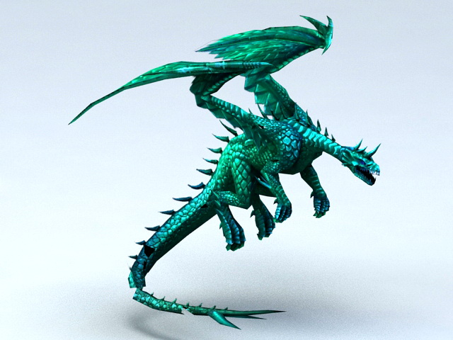 Green Dragon 3d model rendered image