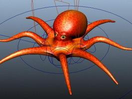 Red Octopus Rig 3d model