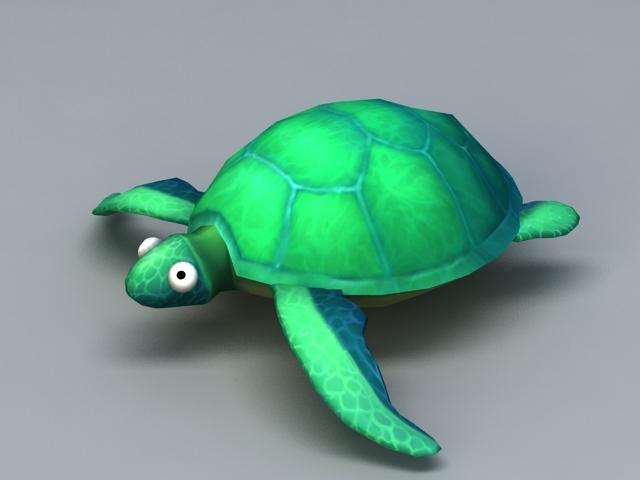 Green Tortoise Cartoon 3d model rendered image