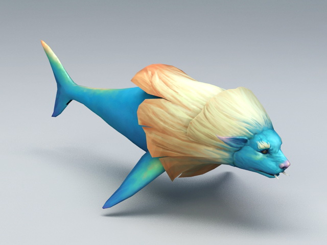 Lion Head Fish 3d model rendered image