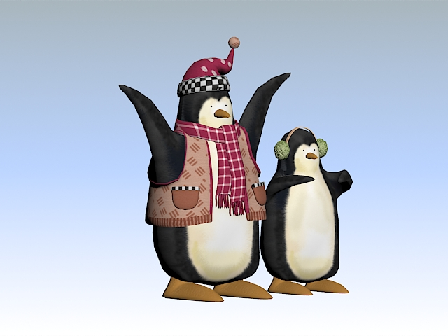 Christmas Penguins 3d model rendered image