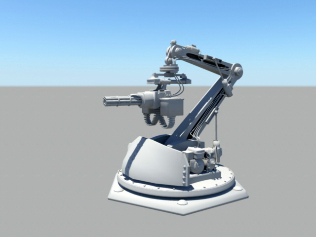 Automatic Gun Turret 3d model rendered image