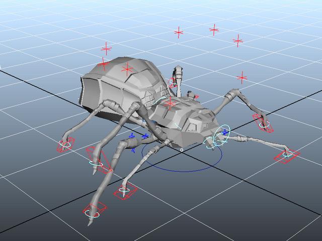 Animated Spider Bug Rig 3d model rendered image