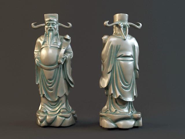 Fortune God Statue 3d model rendered image