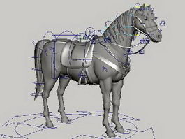 Horse with Saddle Rig 3d model