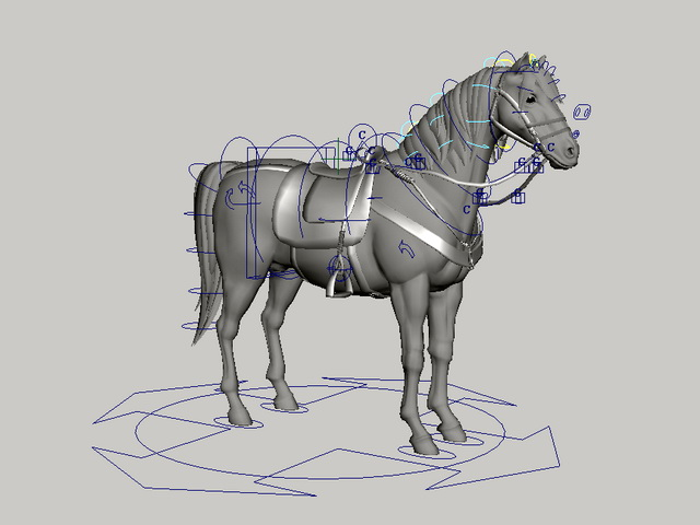 Horse with Saddle Rig 3d model rendered image