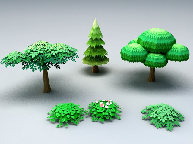 Cartoon Trees and Shrubs 3d model rendered image