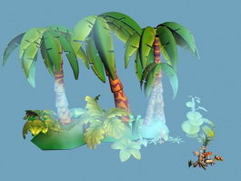 Tropical Island Cartoon 3d model