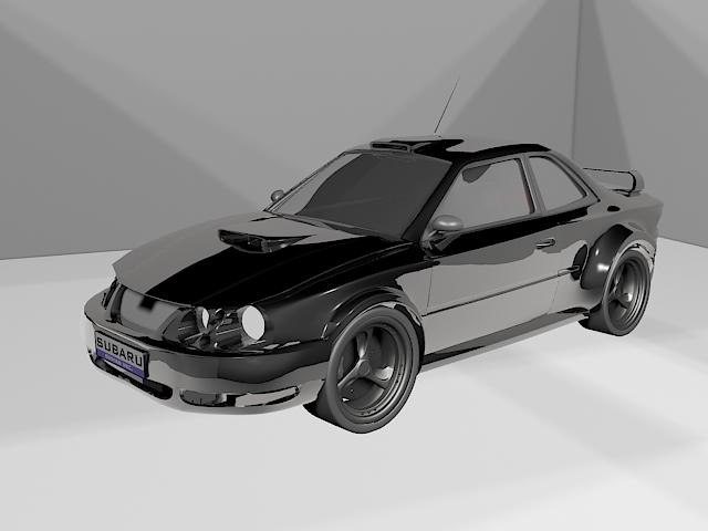 Subaru WRX STI Sports Car 3d model rendered image