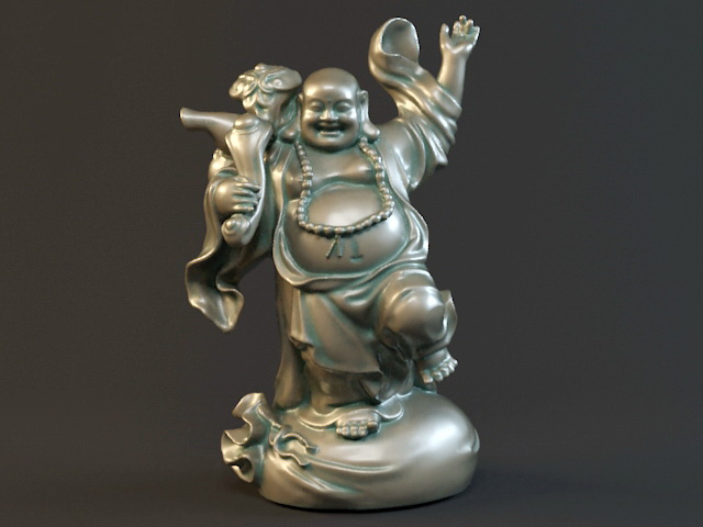 Standing Happy Buddha Statue 3d model rendered image