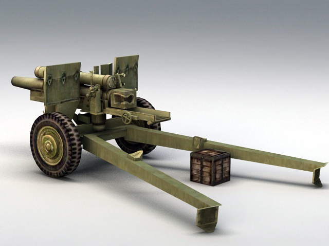 105mm Howitzer 3d model rendered image