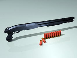 Shotgun and Shells 3d model