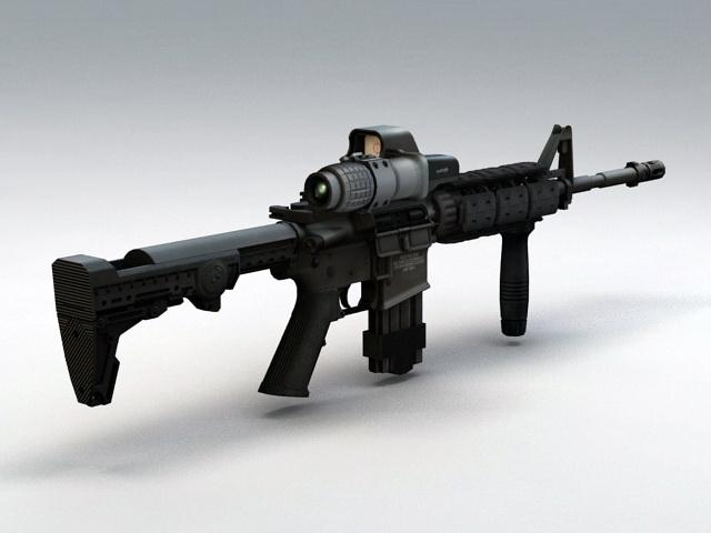 M4 Carbine Assault Rifle 3d model rendered image