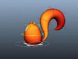 Simple Cartoon Squirrel Rig 3d model