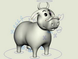 Funny Cow Cartoon Rig 3d model