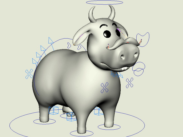 Funny Cow Cartoon Rig 3d model rendered image